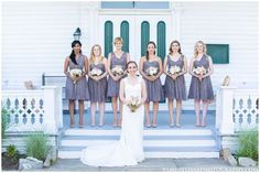 A real Vow wedding... Kristen & her bridesmaids looking perfectly lovely in @jennyyoonyc lace 'Aster' dress in Slate Grey. Discover more bridesmaid dresses to rent at vowtobechic.com.