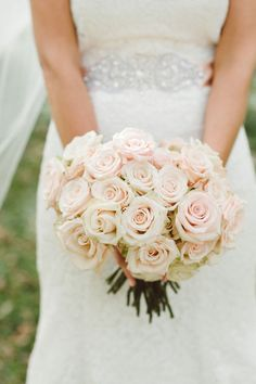 Pale blush rose bouquet {Photo by Jeff Loves Jessica via Project Wedding}