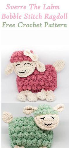 Sverre the lamb bobble stitch rugdoll free crochet pattern