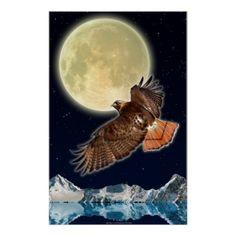 RED HAWK MOON II Wildlife Fantasy Art Poster