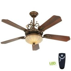 Home Decorators Collection Chateau Deville 52 in. Integrated LED Indoor Walnut Ceiling Fan with Light Kit and Remote Control 14012 - The Home Depot Gold Ceiling Fan, Ceiling Fan Chandelier, Brushed Nickel Ceiling Fan, Decorative Ceiling Fans, Traditional Ceiling Fans, Living Colors, Ceiling Fan Makeover, Ceiling Fan With Remote, Led