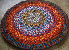 International Orange, Royal Blue Round Braided Rug from recycled cotton | Flickr - Photo Sharing!