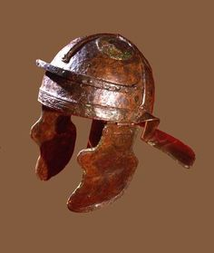 Legionnaire's helmet with neck and cheek guards Unprovenanced Roman period, CE Iron with bronze decorations Ancient Rome, Ancient History, Soldier Helmet, Gladiator Helmet, Roman Helmet, Invert Colors, Roman Legion, Roman Soldiers, Roman Empire