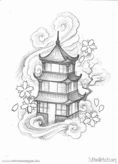 Japanese pagoda Tattoo Designs pinning for clouds and blossoms Simple Tattoo Designs, Japanese Tattoo Designs, Japanese Tattoo Art, Tattoo Design Drawings, Art Drawings Sketches, Cool Drawings, Japanese Temple Tattoo, Tattoo Oriental, Japanese Pagoda