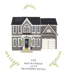Custom illustrated house portrait. $150.00 / Rebekka Seale