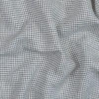 White and Black Graph Check Crisp Linen Woven
