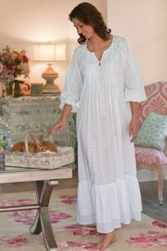 beautiful white cotton nightgown
