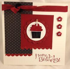 Cherry cupcake gift set.  Create a cupcake stamp set; build a cupcake punch; cherry cobbler; Basic Black; whisper white; Red Glimmer paper; Cherry Cobbler seam binding ribbon; Cherry scented embossing powder.