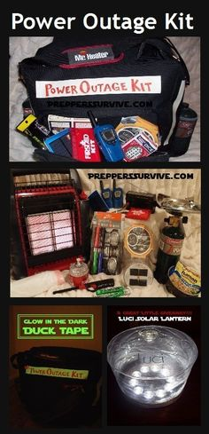 Power Outage Kit - Hurricane Preparedness - Bug Out Bag - Camping Kit - Preppers Survive Are you preparing for winter power outages or a natural disaster? Are you wondering what should be in a power outage kit? Emergency Preparedness Kit, Emergency Preparation, Survival Prepping, Survival Gear, Survival Skills, Hurricane Preparedness Kit, Wilderness Survival, Survival Hacks, Emergency Supplies