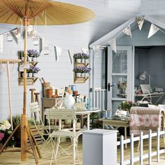 Summer House/super-duper shed idea. Outdoor Living Areas, Outdoor Rooms, Beach Hut Shed, Beach Huts, Decking Area, Outdoor Decking, She Sheds, Deck Design, Outdoor Living