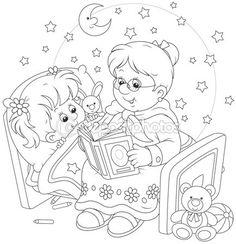 Granny and granddaughter reading — Ilustração de Stock #76581657