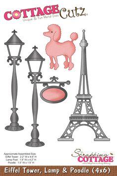 CottageCutz Eiffel Tower, Lamp & Poodle (4x6)