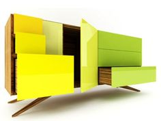 Unique Booleanos Chest Of Drawers With Various Textures · Minimalist Sideboard In Bright Colors Of Summer