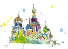 Watercolor Travel Russia Illustration, Jessica Durrant - A Little Slice of…