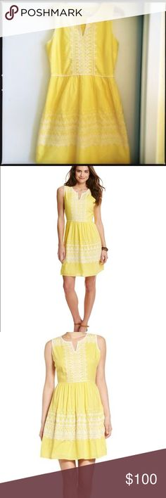 NWT vineyard vines yellow fit and flare dress This a Beautiful dress from Vineyard vines. It is a bright canary yellow with white embroidery. The size is zero it is brand-new with tags never worn. Vineyard Vines Dresses Mini
