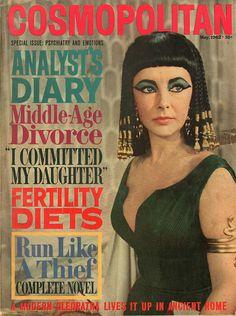 "Cosmopolitan magazine, MAY 1962 Elizabeth Taylor on cover promoting film ""Cleopatra"""