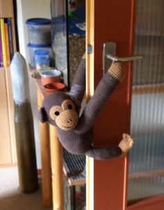 Free pattern  He stops the door from slamming-cute idea  door monkey by Speckerna, via Flickr