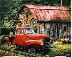 Country Barns, Old Barns, Country Living, Country Life, Vintage Red Truck, Vintage Cars, Antique Cars, Barn Pictures, Outdoor Pictures