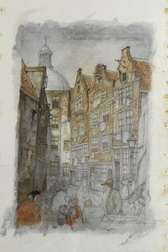Last work of Anton Pieck. He dies in '87 at the age of 92. His latest work is a drawing of the 'Zwarte Bijlsteeg'  in Amsterdam as it appeared around 1900. He could not finish it.