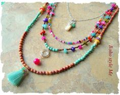 Bohemian Necklace Boho Colorful Tassel Necklace Elephant