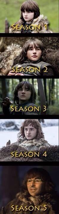 and then we find out he's not even in season five; Bran will be a grown ass man by the time we see him again on the show!