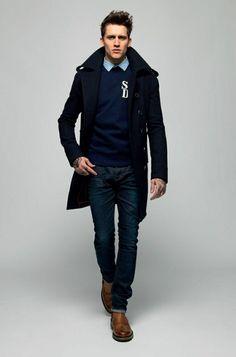 comment avoir une vision elegant avec le manteau homme celio bleu foncé  Manteau Long Homme, 801b29626b5