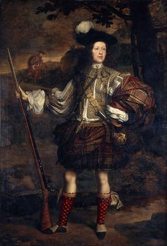 Highland chieftain Lord Mungo Murray wearing belted plaid, around 1680.