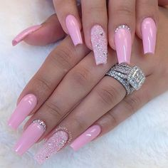 60 Bling Acrylic Coffin Nails Design With Rhinestones – – - Ballerina Nägel