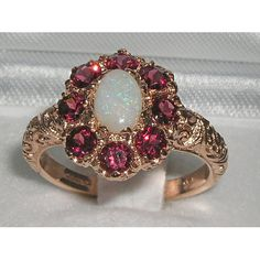 English 9K 9ct Rose Gold Genuine Opal & Garnet Ring - Made in England - Supplied in Your Finger Size on Etsy, $299.99