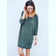 """We ❤️ sweater dresses! Available in grey, olive and red! #sweaterdress #comfy #cozy #cute #ootd #fall"""
