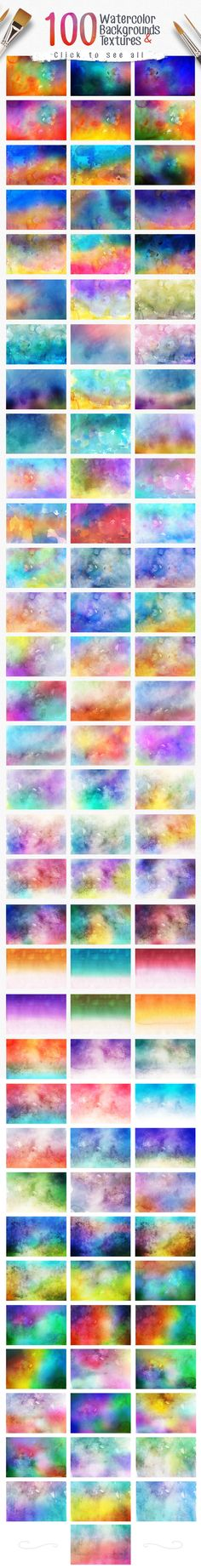 100 Watercolor Backgrounds Textures by ArtistMef on Creative Market