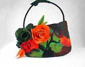 Felted Bag Flower Purse Nunofelt Bag Art Handbag Art bag Felt Nuno felt Silk red ruby tangerine fairy floral fantasy shoulder bag Fiber Art