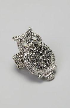 Silver Simulated Diamond Owl Stretch Ring I have earrings that would go perfect with this!