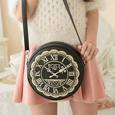 Alice in wonderland clock watch bag side bag messenger lolita mori cute kawaii