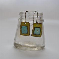 Green Enamel Squares with Blue Square Earrings. $46.00, via Etsy.