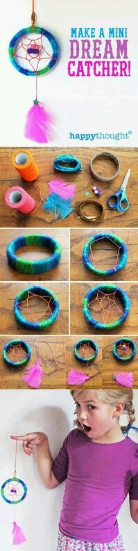 Dream catcher diy from fat rubberband