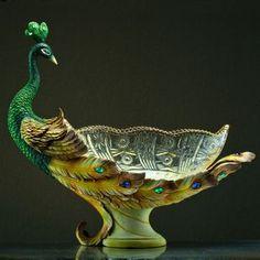 crystal glass fruit plate lucky peacock