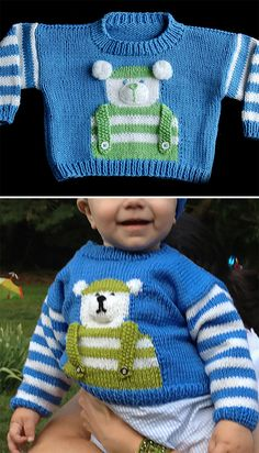 Free Knitting Pattern for Baby Bear Sweater - Long-sleeved pullover with a cute bear motif created with intarsia and additional pieces. Sizes 6, 12, 18 months. Designed by Amy Bahrt for Cascade Yarns. Pictured projects by the designer and mcshoppe