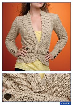 Beautiful cardigan. Free KNIT pattern in spanish - use google translate for website to read