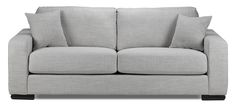 Cherish the Contemporary. The Precious sofa in grey is sure to be a new, contemporary classic in the room you love to gather the most. Featuring a modern, clean-lined silhouette, this sofa has well-padded and loose seat cushions to ensure ample comfort and durability. The easy-care, on-trend and elegant grey, linen-like fabric with welted trim and designer stitching offers convenient maintenance and lends the sophistication of a tailored suit. With this living room furniture, you'll agree…