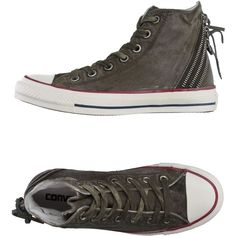 Converse All Star High-tops & Sneakers ($79) ❤ liked on Polyvore featuring shoes, sneakers, military green, hi tops, olive sneakers, converse sneakers, olive shoes and converse high tops