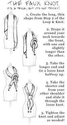 """how to tie a rectangle 40"""" by 8"""" silk scarf - Google Search"""