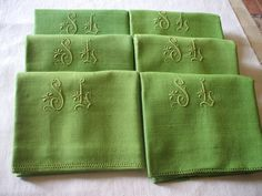FRENCH pure Linen napkins hand tinted APPLE by vintagefrenchstyle, $118.00