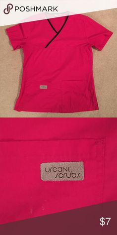 Urbane Scrub Top Pink Urbane Scrubs top with black trim. Size XS. Barely worn. Urbane Scrubs Other