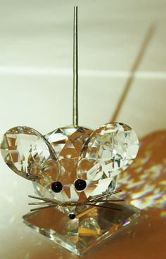 Vintage Swarovski Crystal Large Mouse Figurine 2 1/2 by patwatty, $70.00