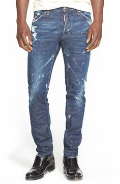 DSQUARED2 'Cool Guy' Distressed Slim Fit Jeans (Indigo). #dsquared2 #cloth #pant