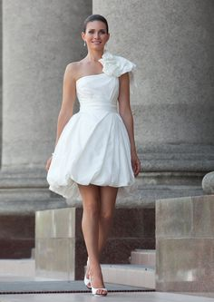 White short dress for rehearsal dinner or beach wedding. $390.00, via Etsy (edelweissbride).