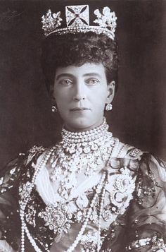 Queen Alexandra ~ the tiara is familiar as one Queen Elizabeth II wore as her Coronation tiara.