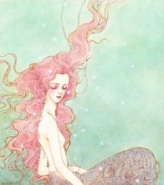 Illustration by haruchonns(1984) pink mermaid artwork painting design