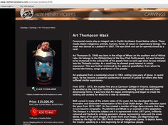 ART THOMPSON mask for sale http://www.royhenryvickers.com/carvings/product/626
